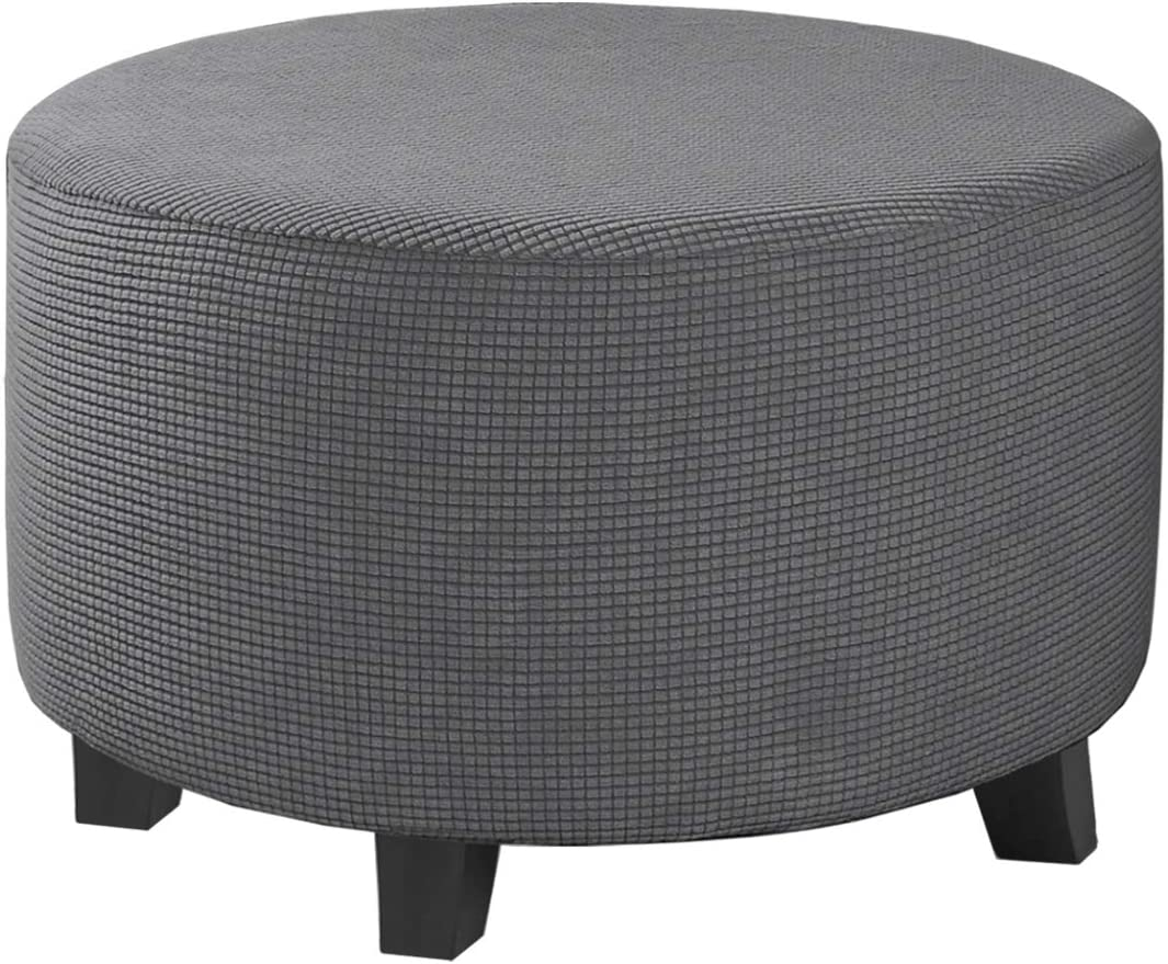 Round Ottoman Slipcover Footstool Protector Covers Storage Stool Ottoman Covers Stretch with Elastic Bottom, Feature Textured Checked Jacquard Fabric Machine Washable(Medium, Gray)