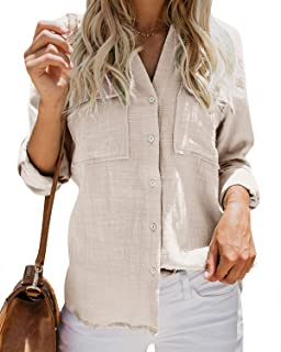Inorin Womens Casual Tops V Neck Button Up Shirts Cuffed Sleeve Collared Slit Blouse