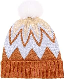 CRUOXIBB Women Knit Wool Beanie - Slouchy Beanie Winter Hat with Faux Fur Pompom Soft Warm Ski Cap