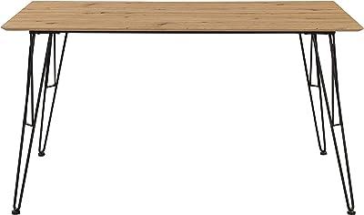 Inter Link Table de Salle à Manger Design de Style Industriel en métal Noir et MDF Imitation chêne Artisan 140 x 80 x 75 cm