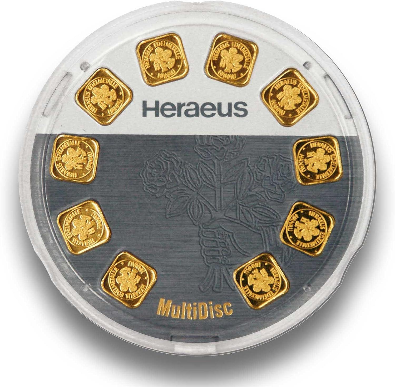 Goldarren 10g (10x 1 Gramm FeinGold) - Heraeus MultiDisc - 10g FeinGold 999.9 - Made in Germany