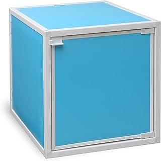 Way Basics Eco Stackable Box - Cubo de Almacenamiento con Puerta, Color Azul (Fabricado en cartón zBoard no tóxico y sostenible), Pizarra reciclable, tamaño único