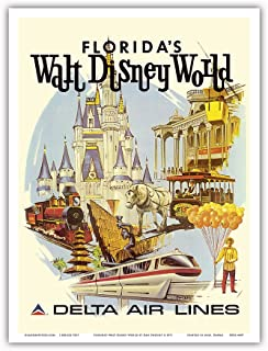 Florida's Walt Disney World - First Year of Operation - Delta Air Lines - Vintage Airline Travel Poster by Daniel C. Sweeney c.1971 - Master Art Print - 9in x 12in