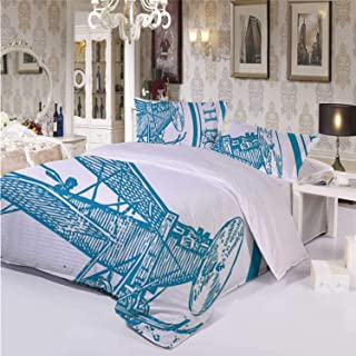 Vintage Airplane Decor Practical 3 Piece Bedding Set,South Pole Antarctica Words on Retro Blue Stamp Grunge Airplane Decorative for Dormify,Twin