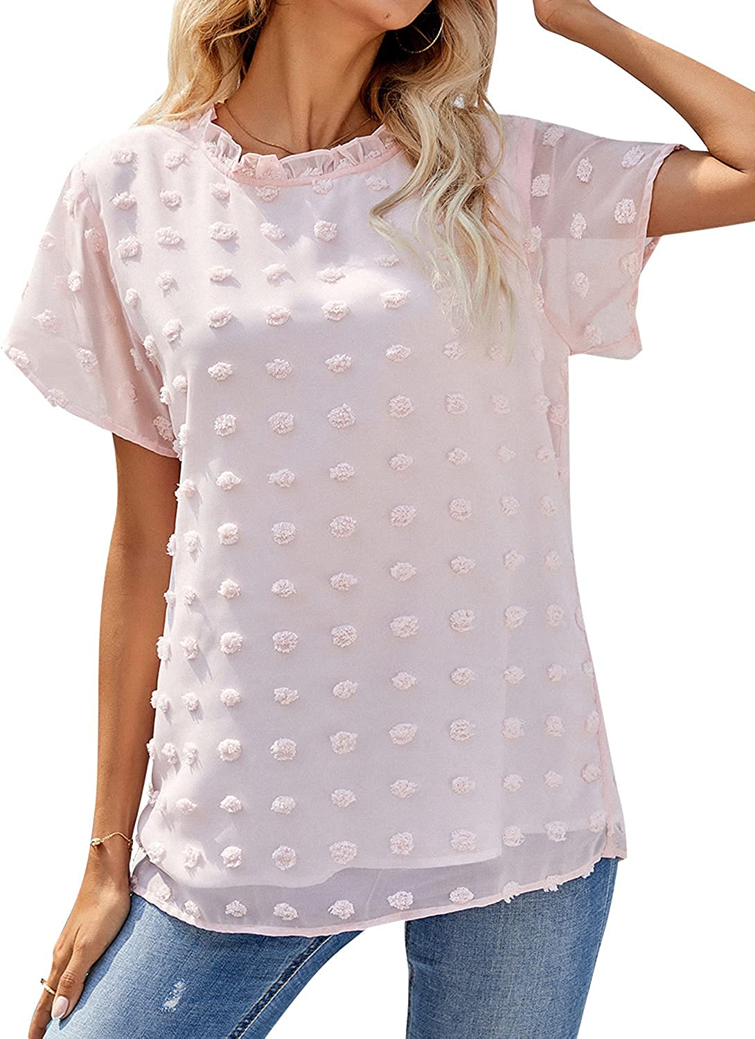 Blooming Jelly Women's Chiffon Blouses V Neck Peplum Tops Loose Pleated Button Down Shirts