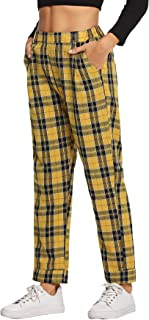 Milumia Women's Fashion Mid Waist Plaid Pocket Straight Leg Pants Trousers Yellow
