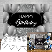 Laeacco 7x5ft Happy Birthday Vinyl Photography Background Grey Balloons Decors Silver Glittering Backdrops Child Kids Baby Adult Birthday Party Banner Cake Smash Studio Photo Props