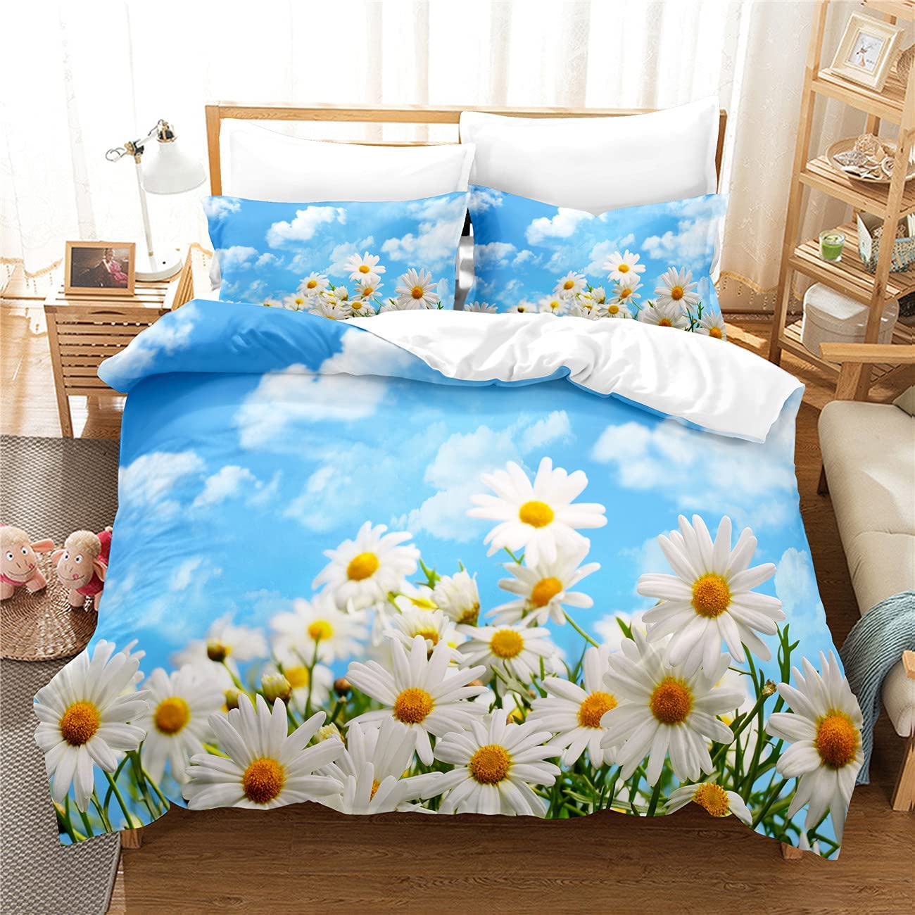 MANXI Blue Sky Little service White Spasm price Daisy Three Pi Printing Quilt Cover
