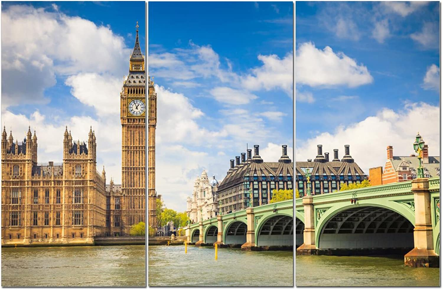 Canvas Wall Art Decor - 12x24 3 Piece Set (Total 24x36 inch) - London UK City View - Decorative & Modern Multi Panel Split Canvas Prints for Dining & Living Room, Kitchen, Bathroom, Bedroom & Office