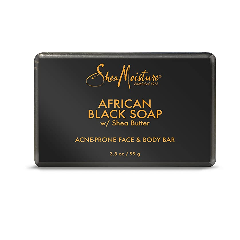 ディスク壊れた調整するShea Moisture バーソープ (Organic African Black Soap Acne Prone Face & Body)