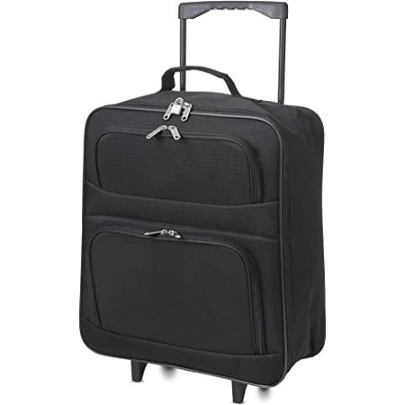 5 Cities Easyjet Ryanair 55x40x20cm Folding Cabin Bag Hand Luggage Carry On Suitcase Black