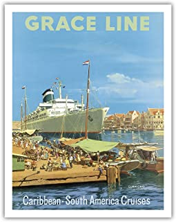 Pacifica Island Art Caribbean - South America Cruises - Willemstad Harbour, Curaçao, West Indies - Grace Line - Vintage Ocean Liner Travel Poster by Carl G Evers c.1957 - Fine Art Print - 11in x 14in