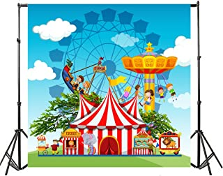 Yeele 10x10ft Circus Carnival Photo Backdrops Vinyl Playground Park Ferris Wheel Performance Game Pirate Boat Photography Background Baby Boys Newborn Birthday Party Photo Video Shoot Studio Props