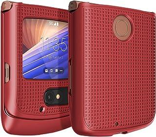 Case for Motorola RAZR 5G Flip Phone, Nakedcellphone [Red] Protective Snap-On Hard Shell Cover [Grid Texture] for Motorola...