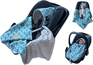 babees einschlagdecke Minky Baby Carcasa Auto asiento techo [Bosque azul + gris]