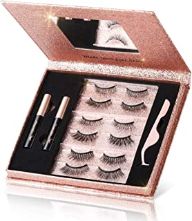 Magnetic Eyelashes with Eyeliner Kit, 6 Pairs 3D Natural Look False Magnetic Eyelashes, 2 Tubes Long Lasting Magnetic Eyel...