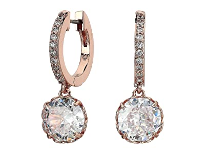 Kate Spade New York That Sparkle Pave Huggies Earrings (Clear/Rose Gold) Earring