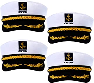 4 Pieces Navy Marine Admiral Style Hat Adjustable Sailor Ship Cap Yacht Boat Captain hat for Men Women Costume Favor