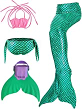 Xiongyi® Kids Girls Sparkle Mermaid Tail with Monofin Swimmable Swimwear