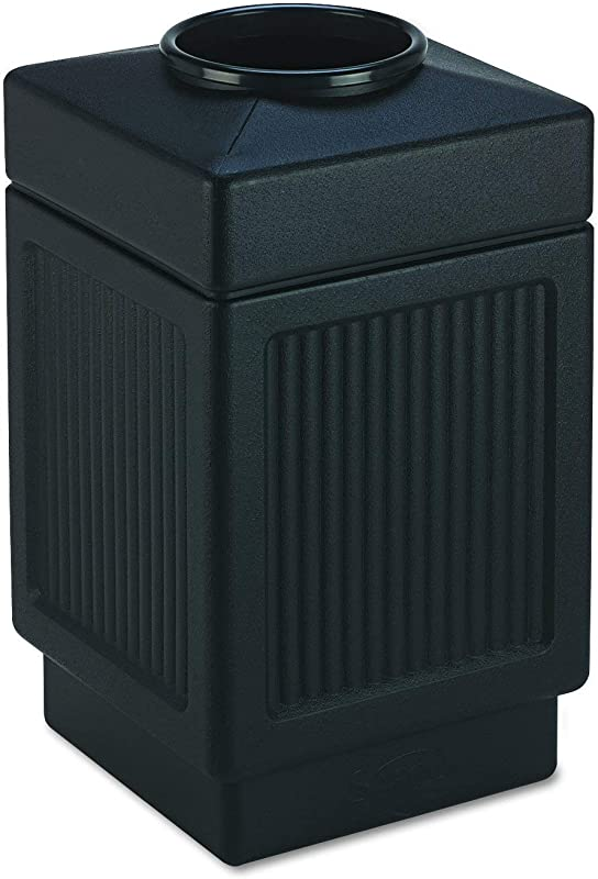 Safco Products Canmeleon Outdoor Indoor Recessed Panel Trash Can 9475BL Black Decorative Fluted Panels 38 Gallon Capacity