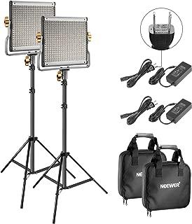 Neewer 2パック 調光可能な二色480 LEDビデオライトとスタンドライティングキット Uブラケット付きの3200K-5600K CRI 96+ LEDパネル、75インチライトスタンド YouTubeスタジオ撮影とビデオ撮影用