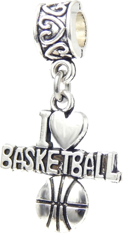 Dangle I Love Basketball Charm Bead for Charms Bracelets