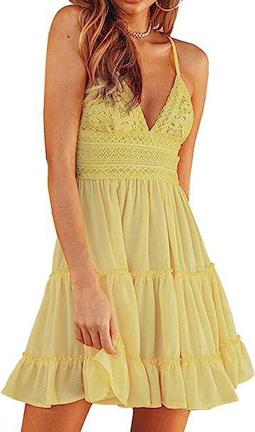 Ecowish V Ausschnitt Kleid Damen Spitzenkleid Trager Ruckenfreies Kleider Sommerkleider Strandkleider Weiss Amazon De Bekleidung