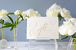 Weekend Paper Co. Script Gold Wedding Table Numbers, Double Sided 5x7 Calligraphy Design, Numbers 1-25