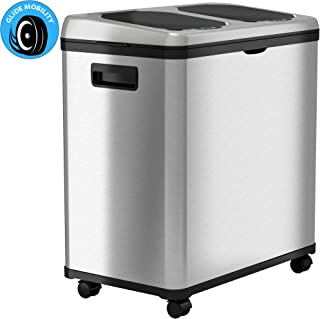 iTouchless 16 Gallon Touchless Sensor Trash Can/ Recycle Bin, Stainless Steel Dual-Compartment (8 Gallon each) 60 Liter Kitchen Recycling and Garbage Waste Solution