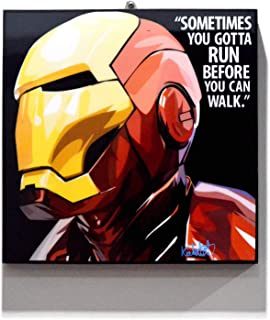 Pop Art Superhero Quotes - Iron Man Marvel Avengers Framed Acrylic Canvas Poster Prints Artwork Modern Wall Decor, 10