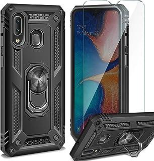 AROYI Funda Samsung Galaxy A20e + Cristal Templado, 360 Anillo iman Soporte, Hard PC y Silicona TPU Bumper antigolpes Case Carcasa para Samsung Galaxy A20e Negro