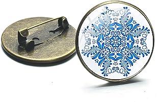 Spilla In Bronzo Stampato Spilla Stile Cinese Blu E Bianco Porcellana Art Glass Gem Distintivi Accessori Per Cappotti