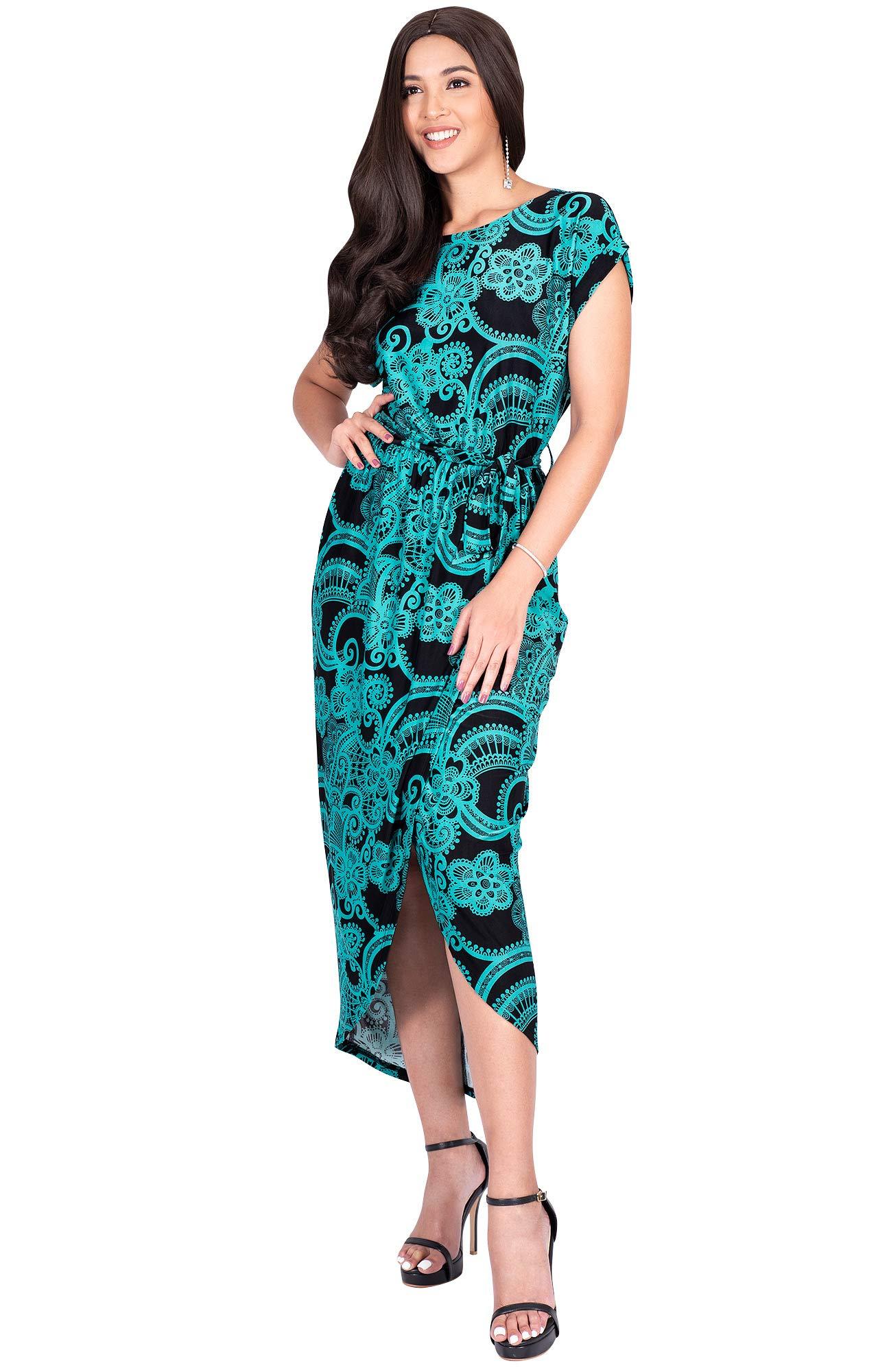 Available at Amazon: KOH KOH Women's Long Floral Print Casual Asymmetrical Short Sleeve Midi Dress