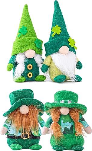 popular Gnome Ornaments St.Patrick's Day Gnome Decorations Irish Gnomes Decor Tomte Handmade Irish Leprechaun Nisse for Irish new arrival Saint Paddy's Day Gift Home Decor Tabletop Santa Figurines Pack online of 4 sale