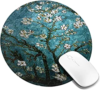 Mouse Pad, Anti Slip Vincent Van Gogh Almond Blossoming Mouse Mat for Desktops, Computer, Pc and Laptops, Customized Round...