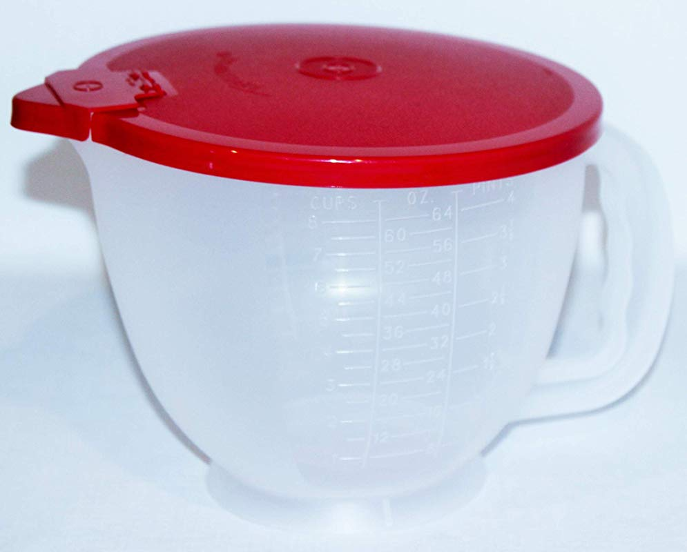 Tupperware Classic Mix N Stor 8 Cup Large Measuring Pitcher Sheer With Red Lid