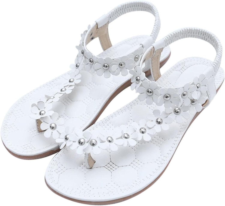 Davikey Women's Summer Bohemia Beaded Flower Beach Thong Sandals
