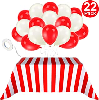 Blulu 2 Packs Red and White Striped Carnival Circus Party Table Cover Tablecloths, with 20 Pieces Balloons and 10m White Ribbon