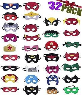 32 Piezas Máscaras de Superhéroe,Suministros de Fiesta de Superhéroes, Máscaras de Cosplay de Superhéroe con Cuerda Elástica Máscaras de Ojos para Niños Mayores de 3 años