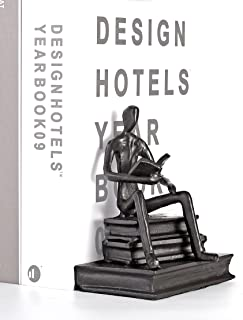 Decorative Bookend , Man Reading Book , Iron Cast , Satin Black