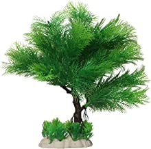 Foodie Puppies Pine Tree Artificial Plastic Plant Ornament for Aquarium Decoration (27 x 13 x 26 cm)