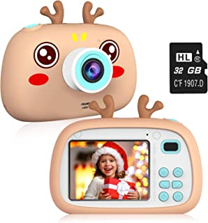 """2NLF Kids Digital Camera,Electronic Toys,2.4"""" 8MP 1080P for taking picture and vedio,protective silicone case (32G TF car..."""