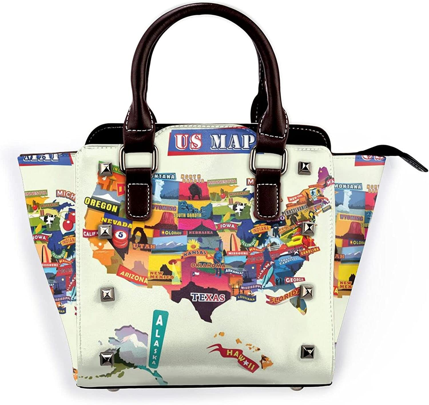 Ladies Leather Rivet Shoulder 2021new shipping free Special price for a limited time Bag Multi- Seashorehandbag Us Map