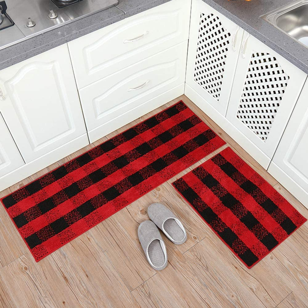 Carvapet 2 Pieces Buffalo We OFFer at cheap prices Plaid Cheap SALE Start Check Water Rug Absorb Micro Set
