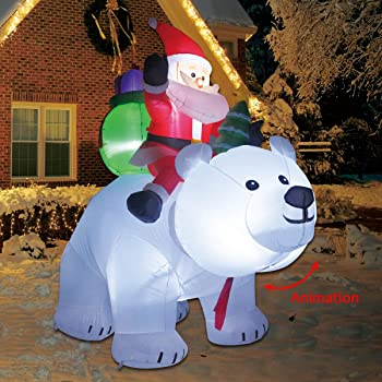 COMIN.NET 6 Feet Christmas Inflatable Outdoor Decoration Blow up Santa Clause Riding The Polar Animation Bear with Shaking Head
