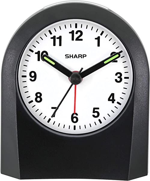 Sharp Quartz Analog Alarm Clock Battery Operated Ticking Sound Touch Activated Back Light Easy To Read Great For Travel