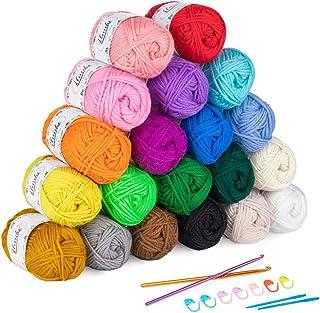 ilauke 20 x 30g Balls of Assorted Double Knitting Yarn, Colored Acrylic Yarn Set with 2 Crochet Hooks, 2 Needles, 8 Croche...