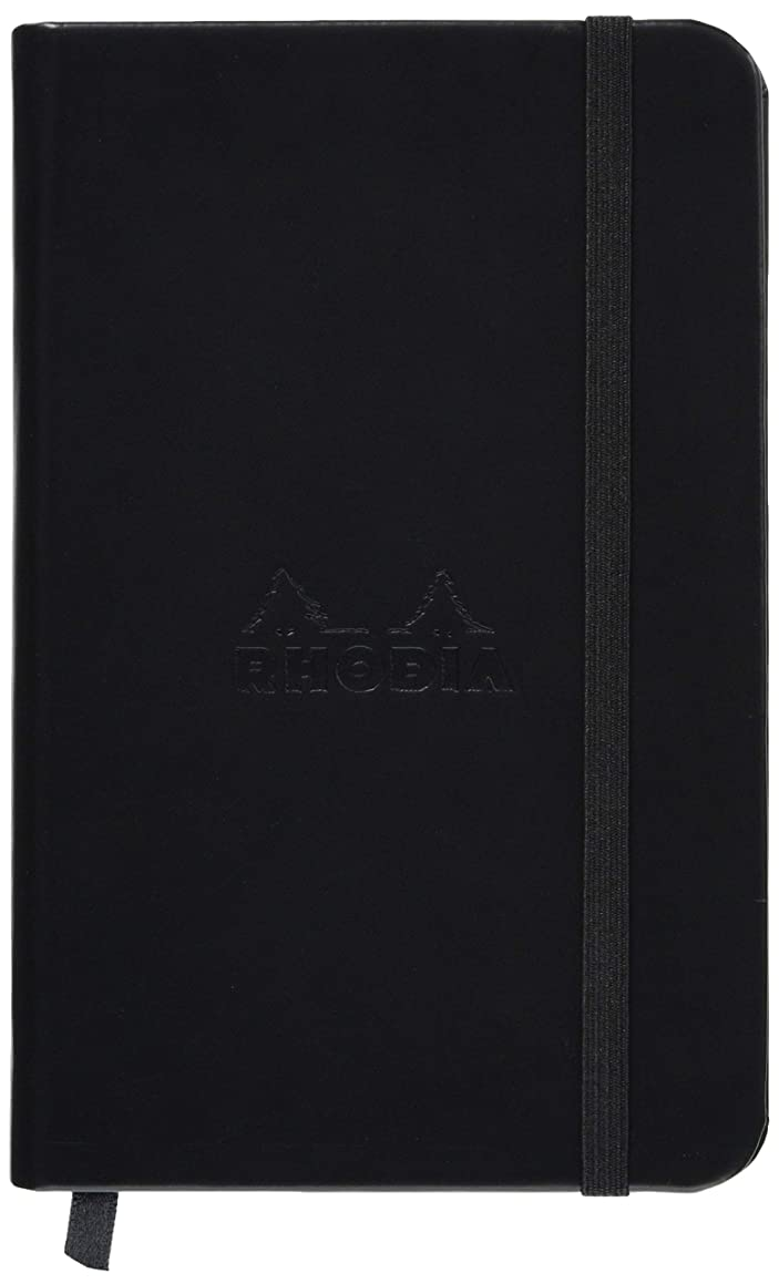 Rhodia Rhodiarama Webnotebook, Webbie - Faux Leather Hardcover. 96 Lined Sheets (192pgs) Ivory Paper - 15 Colors, 2 Sizes - Great Journal, Diary, Notebook (Black/Black, 3 1/2 x 5 1/2 Lined)