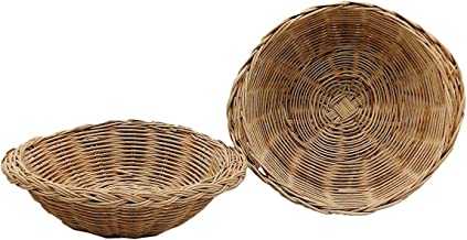 2pcs Woven Bread Baskets Round Bamboo Food Serving Baskets Wicker Fruit Vegetable Beige (Medium)