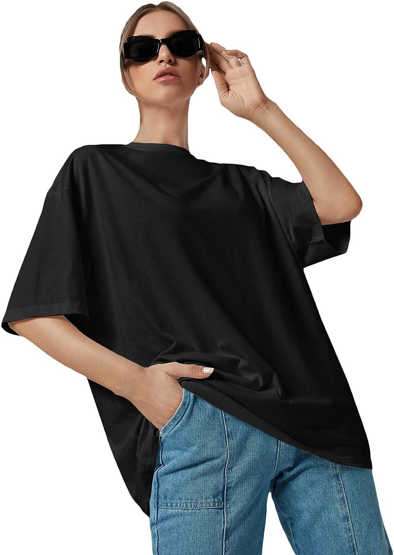 Romwe Women's Short Sleeve Oversized Shirt Round Neck Plain Tee Tops